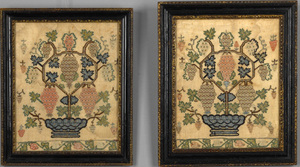 Pair of silk on silk needlework pictures, 18th c.,