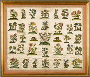 Wonderful English needlework crib cover, 17th c.,i