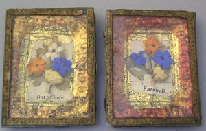 Pair of miniature foil and paper love tokens, 19th