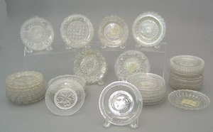 Forty-six sandwich glass cup plates to include 2 w