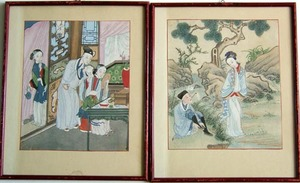 Set of 6 Chinese watercolor on paper pictures, mid