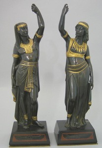 Pair of Egyptian revival bronze figures, ca. 1900,