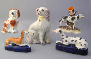 Group of 5 Staffordshire dogs, 19th c., including
