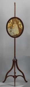 Victorian mahogany pole screen, late 19th c., with