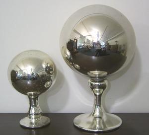 Mercury glass wig stand, 19th c., 14 1/2