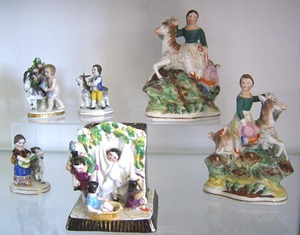Six Staffordshire figural groups, 19th c., 5 3/4