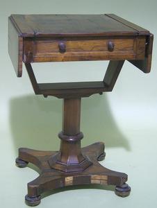 Continental rosewood veneer game table, ca. 1830,i