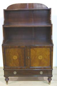 Regency mahogany commode, ca. 1800, with arched ba