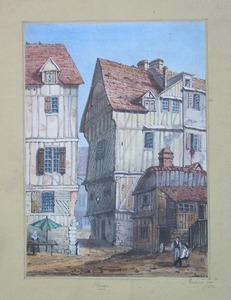 J. Godwin(English, 19th c.) - Watercolor street sc