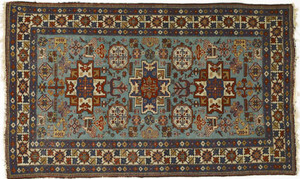 Lesghi star shirvan throw rug, ca. 1910, with 3 ce