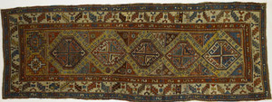 Moghan Kazak runner, ca. 1900, with 5 central meda