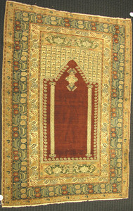 Turkish prayer rug, ca. 1920, with a rust mehrab a