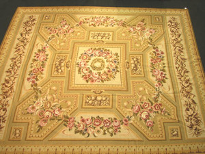 Aubusson needlework carpet, 20th c., with a centra