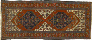 Hamadan long rug, ca. 1920, with 2 indigo medallio