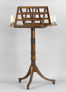 Regency mahogany music stand, ca. 1810, with 2-sid