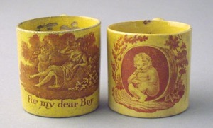 Two canary child's mugs, 19th c., with transfer de