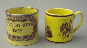 Canary child's mug, 19th c., with transfer inscrip