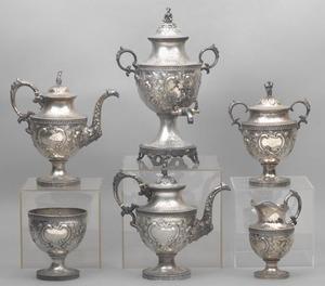 Philadelphia repousse coin silver 6-piece tea serv