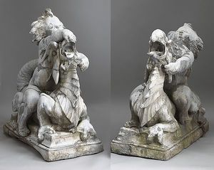 Pair of lead garden fountains of putti riding drag
