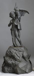 Cast iron fountain, early 20th c., of a young boyo