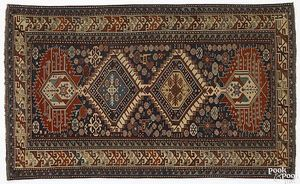 Vibrant Shirvan throw rug, late 19th c., with 4 ce