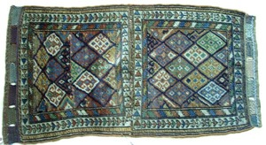 Shiraz bagface, ca. 1900, with a repeating diamond