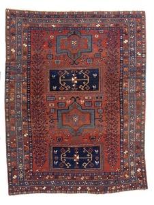 Kazak throw rug, ca. 1890, with 4 central medallio