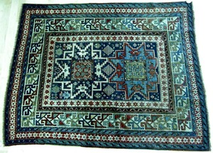 Lesghi star Shirvan throw rug, late 19th c., with