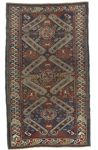 Vibrant Sejshour throw rug, late 19th c., with 3 c