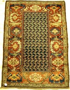 Hamadan throw rug, ca. 1930, with boteh design on