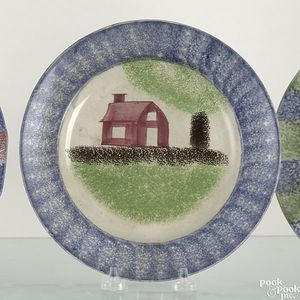 Blue spatter plate with red schoolhouse, brown and
