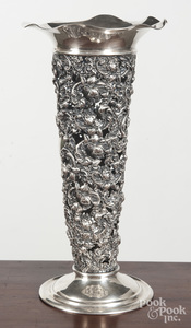 Repousse sterling silver vase