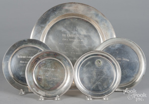 Five sterling silver trophy plaques for Bryn Mawr