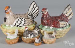 Six porcelain hen on nests