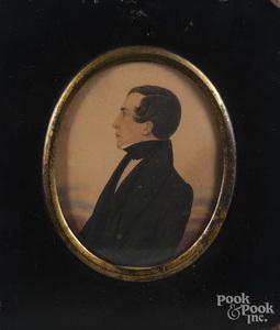 Miniature watercolor portrait of a gentleman