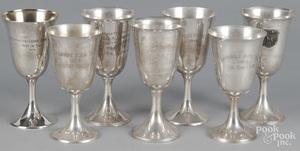 Seven sterling silver horse show goblets