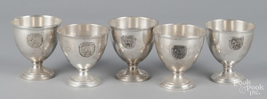 Five sterling silver horse show footed bowls