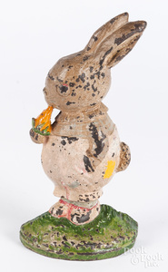 Hubley cast iron rabbit with carrot doorstop