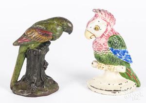 Four cast iron parrot doorstops, tallest - 8 1/4