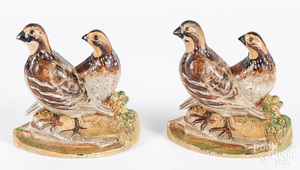 Pair of cast iron quail bookends, 5 3/4