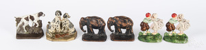Group of cast iron bookends,