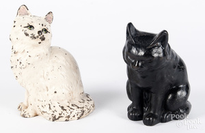 Two Hubley cast iron cat doorstops