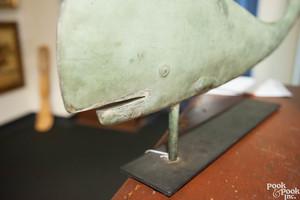 Rare swell bodied copper whale weathervane
