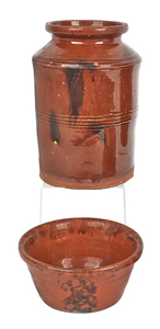 Two pieces of Pennsylvania redware, 19th c., to in