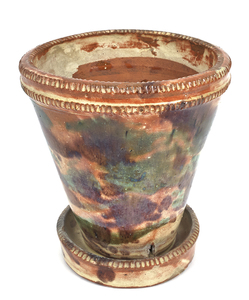 Shenandoah Valley redware flowerpot, 19th c., with