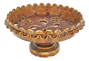 Rockingham glaze compote, 19th c., with pierced ph