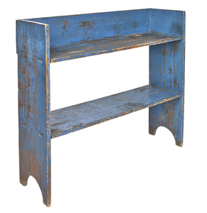 Painted pine bucket bench, 19th c., retaining an o