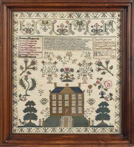 English or American silk on linen sampler, dated 1