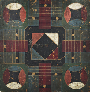 Painted pine Parcheesi gameboard, 19th c., 19