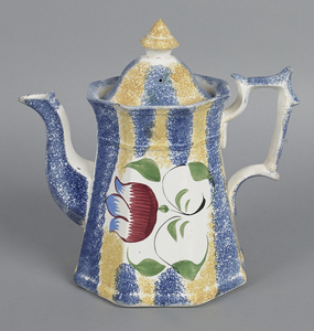 Yellow and blue rainbow spatter coffee pot, 19th c